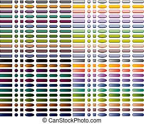 Un colorido conjunto de 336 botones web