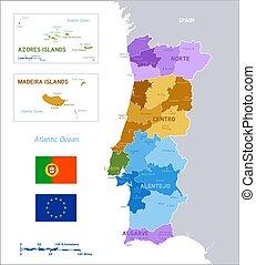 Un colorido mapa de vectores políticos de Portugal