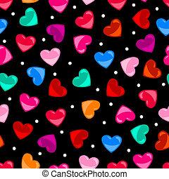 Un colorido y colorido patrón del corazón sobre el negro