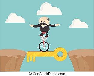 Un concepto clave de bicicleta de una sola rueda de la gente corriendo. El símbolo de negocios de ambición, éxito, motivación,