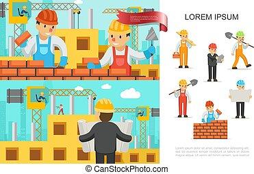 Un concepto colorido de la industria de construcción plana