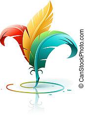 Un concepto creativo de arte con plumas de colores