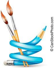 Un concepto de arte creativo con lápiz retorcido y pinceles para dibujar