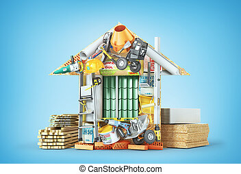 Un concepto de construcción. Material de construcción establecido forma de casa. Ilustración 3D
