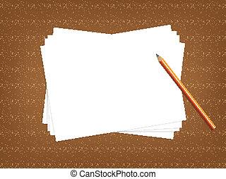 Un concepto de escritorio con papel en blanco