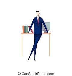 Un concepto de hombre de negocios de trabajo. Carrera y éxito profesional.