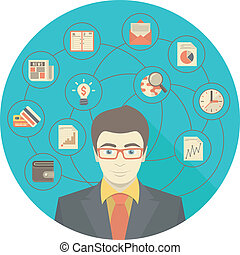 Un concepto de hombre de negocios moderno