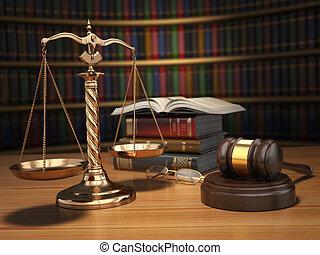 Un concepto de justicia. Gavel, escalas doradas y libros en la biblioteca