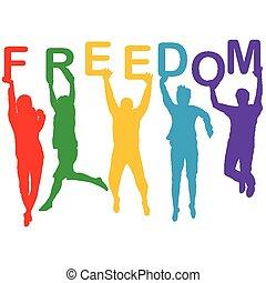 Un concepto de libertad con gente saltando siluetas