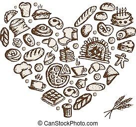 Un concepto de panadería, corazón de amor, un boceto para tu diseño