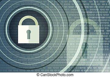Un concepto de seguridad tecnológica. Bloqueo cerrado en antecedentes digitales