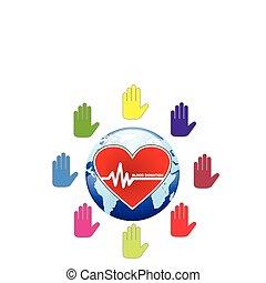 Un concepto global de donación de sangre humana ilustrado en vector