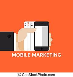 Un concepto plano de estrategia de marketing móvil