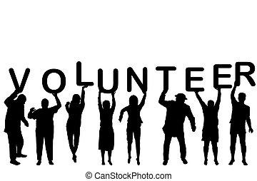 Un concepto voluntario con siluetas de la gente