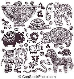 Un conjunto antiguo de animales étnicos aislados y símbolos étnicos