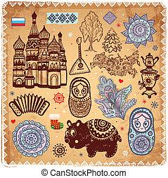 Un conjunto antiguo de iconos rusos