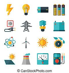 Un conjunto de íconos de la industria en diseño plano.