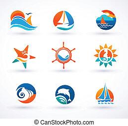 Un conjunto de íconos náuticos, mar y símbolos