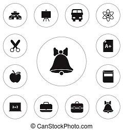 Un conjunto de 12 iconos de conocimiento editable. Incluye símbolos como manzana, literatura, página y más. Puede usarse para web, móvil, UI y diseño gráfico.