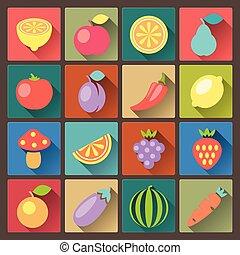 Un conjunto de 16 iconos vegetales