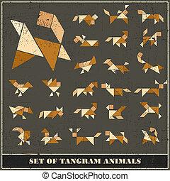 Un conjunto de animales tangramas grunge