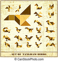 Un conjunto de aves tangramas grunge