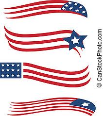Un conjunto de banderas americanas ilustrando