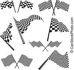 Un conjunto de banderas de carreras