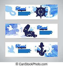 Un conjunto de banderas de viaje. Diseño náutico marino. Dibujo a mano y ilustraciones acuarelas