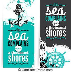 Un conjunto de banderas grunge de viaje. Diseño náutico marino. Ilustraciones dibujadas a mano. Diseño Typográfico