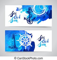 Un conjunto de banderas marinas de viaje. Diseño náutico marino y océano