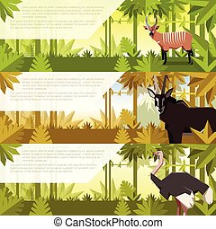 Un conjunto de banderas planas con animales africanos
