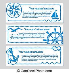 Un conjunto de banderas temáticas náuticas