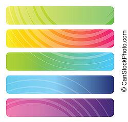 Un conjunto de banderas web coloridas