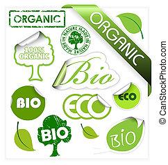 Un conjunto de bio, eco, elementos orgánicos