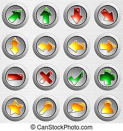 Un conjunto de botones de acero gris claro
