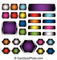 Un conjunto de botones de metal coloridos