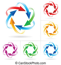 Un conjunto de círculos de flechas