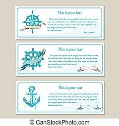Un conjunto de carteles de viaje. Diseño náutico marino.