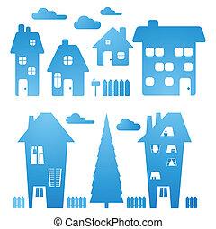 Un conjunto de casas azules