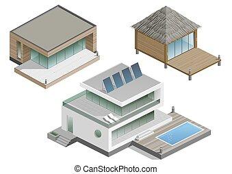 Un conjunto de casas modernas