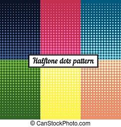 Un conjunto de colores de fondo medio retro. Ilustración de arte pop Vector