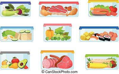 Un conjunto de contenedores con comida. Ilustración de vectores en un fondo blanco.