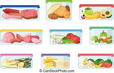 Un conjunto de contenedores con diferentes productos. Ilustración de vectores en un fondo blanco.