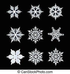 Un conjunto de copos de nieve para ilustrar iconos de ilustración
