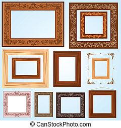 Un conjunto de cuadros de madera de época