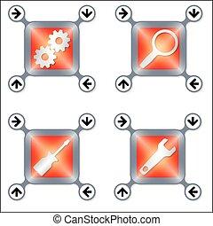 Un conjunto de cuatro íconos con diferentes herramientas de plata