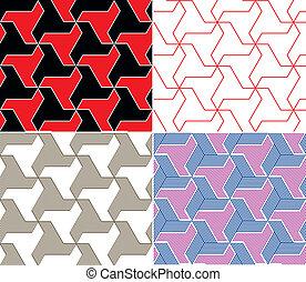 Un conjunto de cuatro colores sin costura. Elementos triángulos