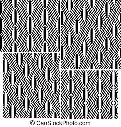 Un conjunto de cuatro patrones sin costura. Elementos triángulos
