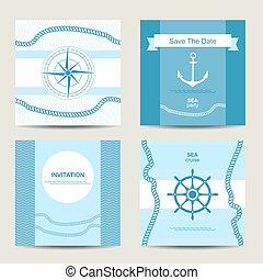 Un conjunto de cuatro tarjetas de invitación náuticas